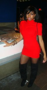 Red Turtle Neck Short Sleeve Dress (Was knee length - Altered to fit)